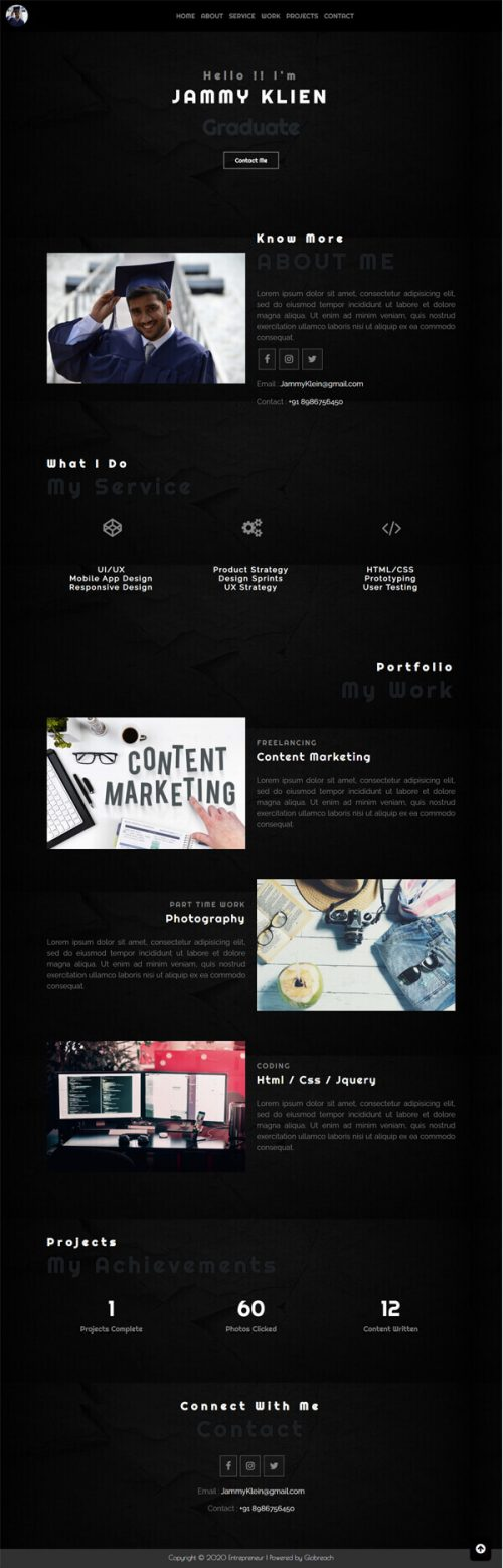 Fame –  Fresher, Experience detail profile template.