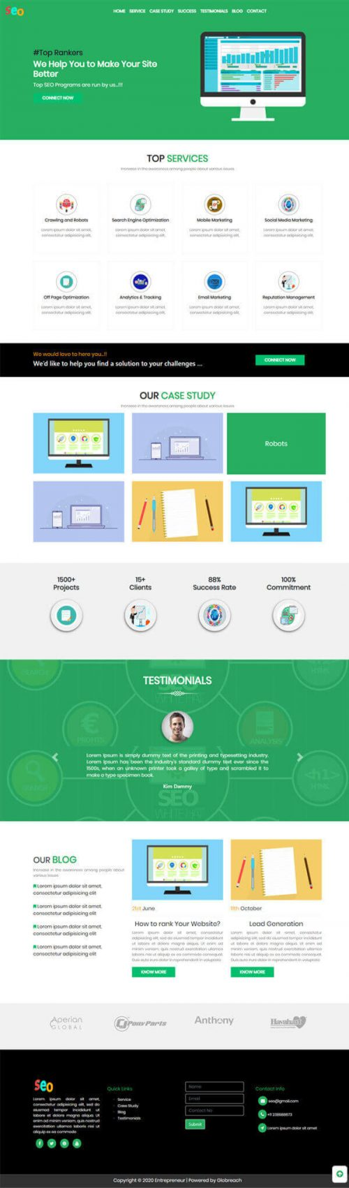 Spot- Online Marketer | Working professional website template.