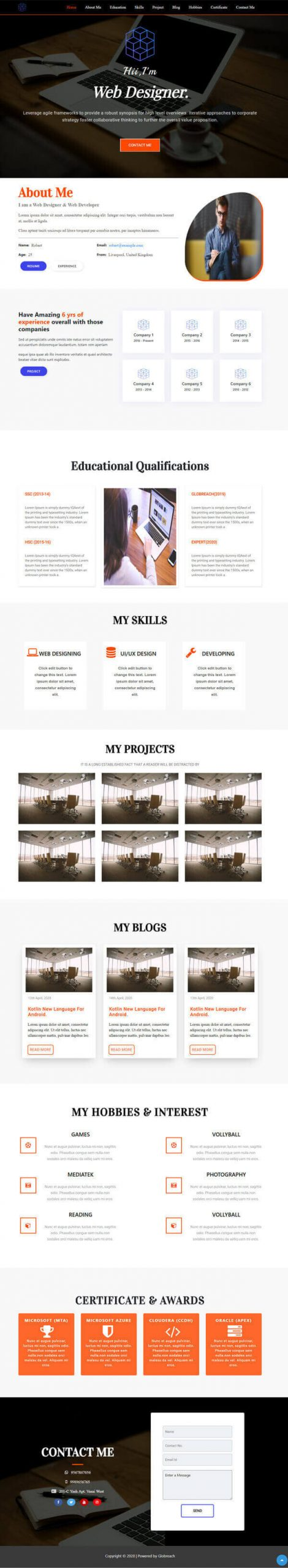 BAY- Creative & Responsive multi-purpose HTML profile template